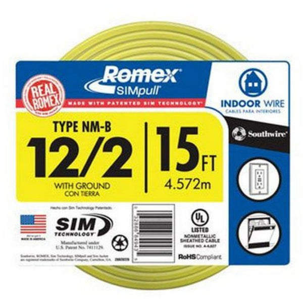 Southwire 28828226 Romex Non-Metallic Sheathed Cable w/Ground, 12/2, Copper, 15'