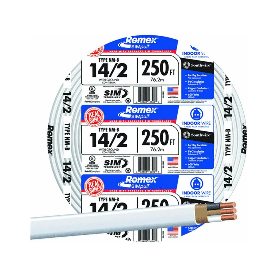 Southwire 28827455 Romex Non Metallic Sheathed Cable W Ground 14 2 C Toolboxsupply Com