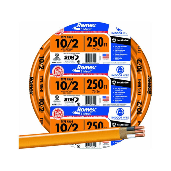 Southwire 28829055 Romex Non-Metallic Sheathed Cable w/Ground, 10/2, Copper,250'