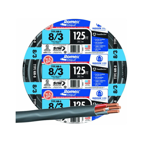 Southwire 63949202 Romex Non-Metallic Sheathed Cable w/Ground, 8/3, Copper, 125'
