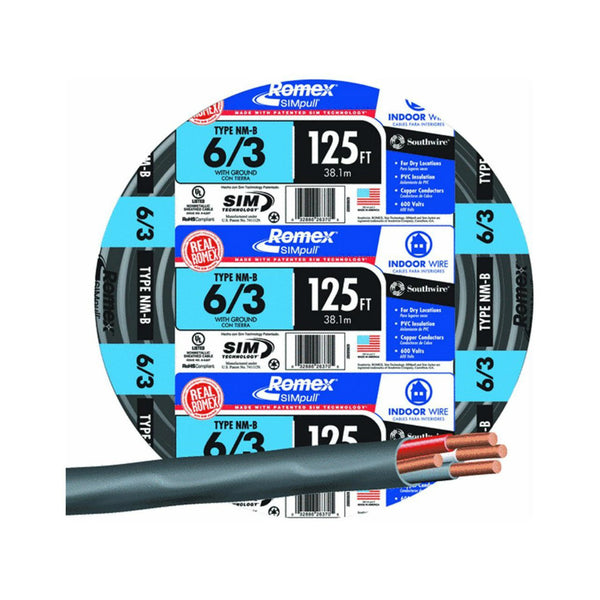 Southwire 63950002 Romex Non-Metallic Sheathed Cable w/Ground, 6/3, Copper, 125'