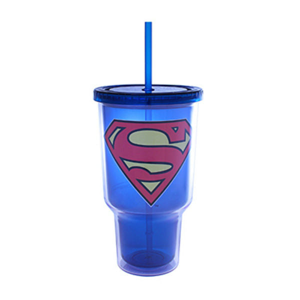 Silver Buffalo SP0217 DC Comics Superman Logo Plastic Cold Cup, 32 Oz