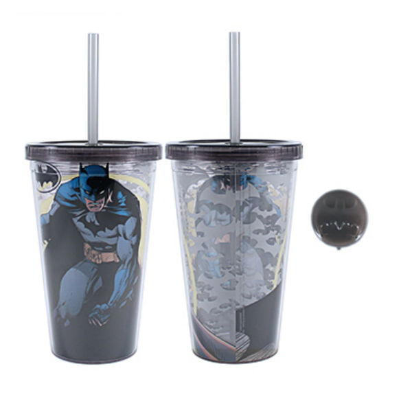 Silver Buffalo BK01087Q DC Comics Batman Logo Cold Cup w/ Reusable Cubes, 16 Oz