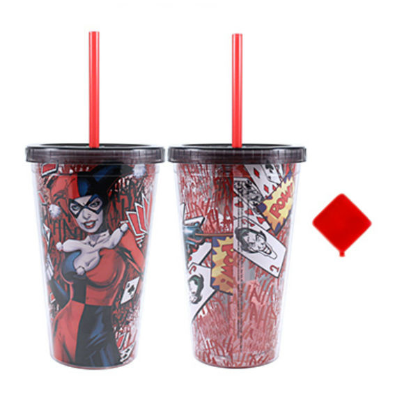 Silver Buffalo HQ15087Q DC Comics Harley Quinn Cold Cup w/Reusable Cubes, 16 Oz