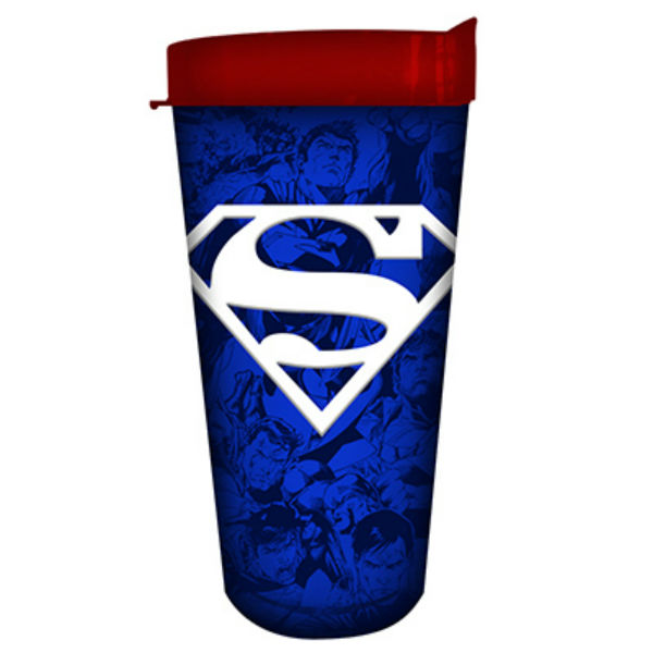 Silver Buffalo SP121386 Superman Blue Multi Pose Collage Domestic Tumbler, 16 Oz