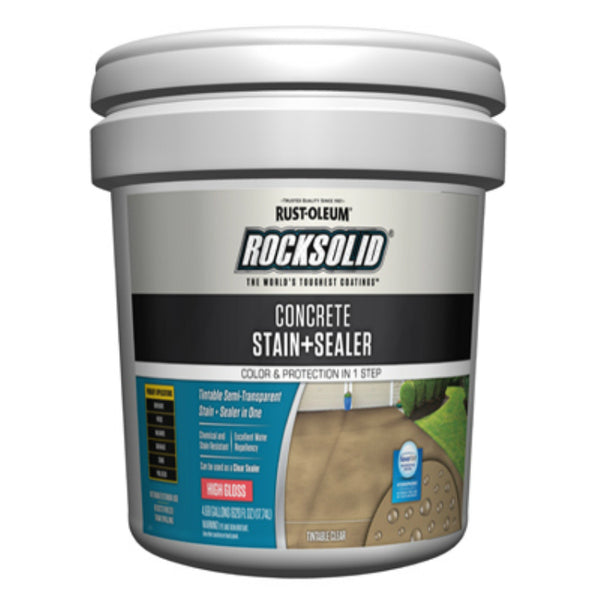 Rust-Oleum® 322853 RockSolid® Concrete Stain + Sealer, High Gloss, 5-Gallon