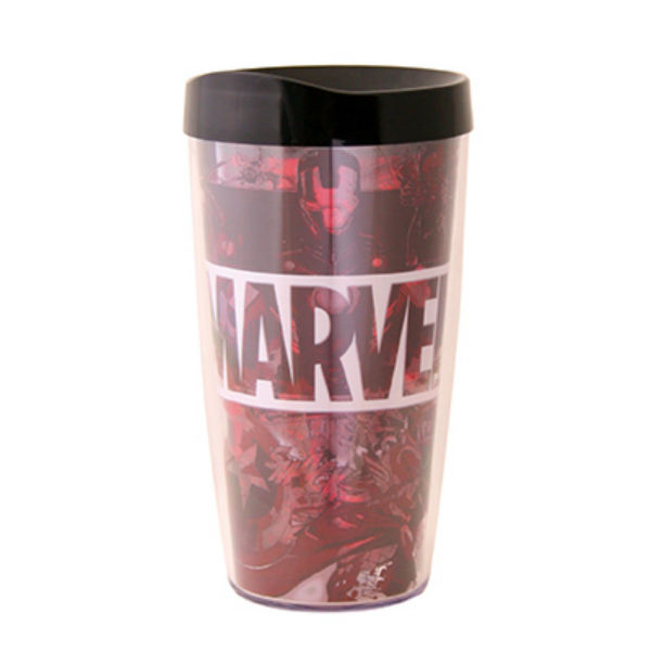 Silver Buffalo MC123386 Marvel Logo Multi Character Domestic Tumbler, 16 Oz