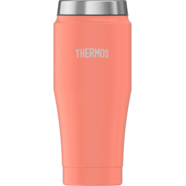 Thermos® H1017PC4 Stainless Steel Travel Tumbler w/ Slide-Lock Lid, Peach, 16 Oz