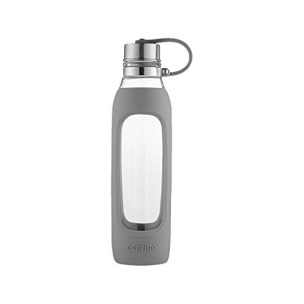 Contigo® 72907 Purity Glass Water Bottle with Tethered Lid, Smoke Sleeve, 20 Oz