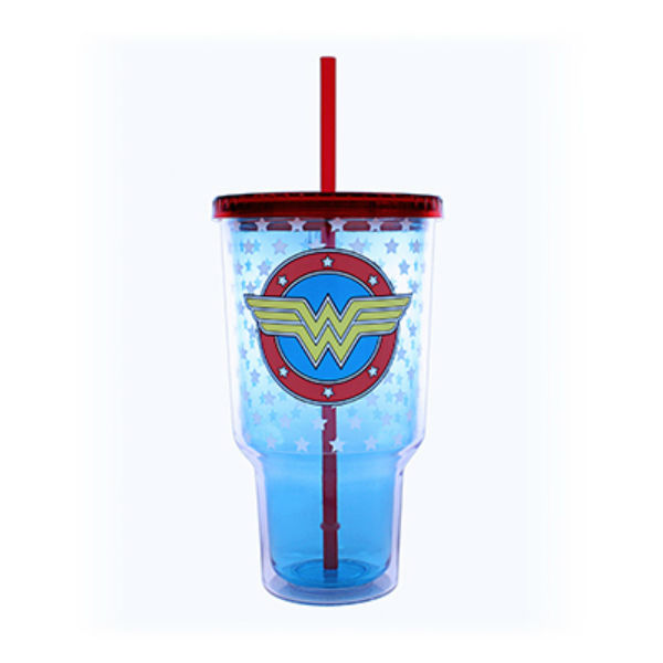 Silver Buffalo WW0517 Wonder Woman Logo Stars Plastic Cold Cup, 32 Oz