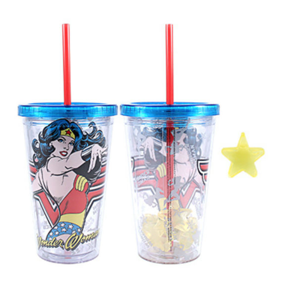 Silver Buffalo WW99087Q DC Comics Wonder Woman Cold Cup w/ Reusable Cubes, 16 Oz