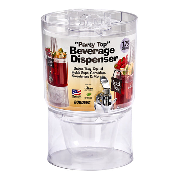Buddeez® 14402-RTL Party Top Beverage Dispenser, 1.75 Gallon