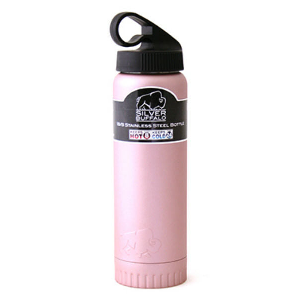 Silver Buffalo NL112296 Double Wall Stainless Water Bottle w/Lid,Rose Pink,20 Oz