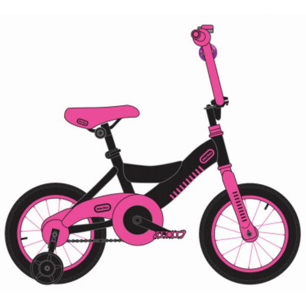 Little Tikes LT0900112BKDP Girls Bike w/ Training Wheels, Dark Pink & Black, 12""