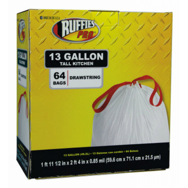 Ruffies 1124888 Drawstring Tall Kitchen Trash Bags, White, 13-Gallon, 64-Count