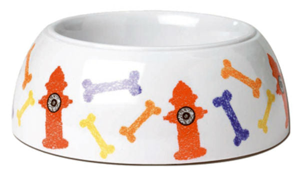 PetRageous Designs 12102 Hydrant Hounds Non-Skid Melamine Bowl, White Multi, 4-Cup