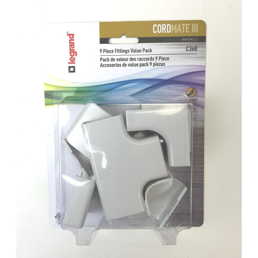 Legrand® Wiremold® C368 CordMate III Fittings Value Pack ...