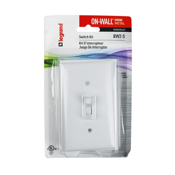 Legrand® BW2-S Wiremold® Metal Raceway Outlet Box w/ Switch & Faceplate, White