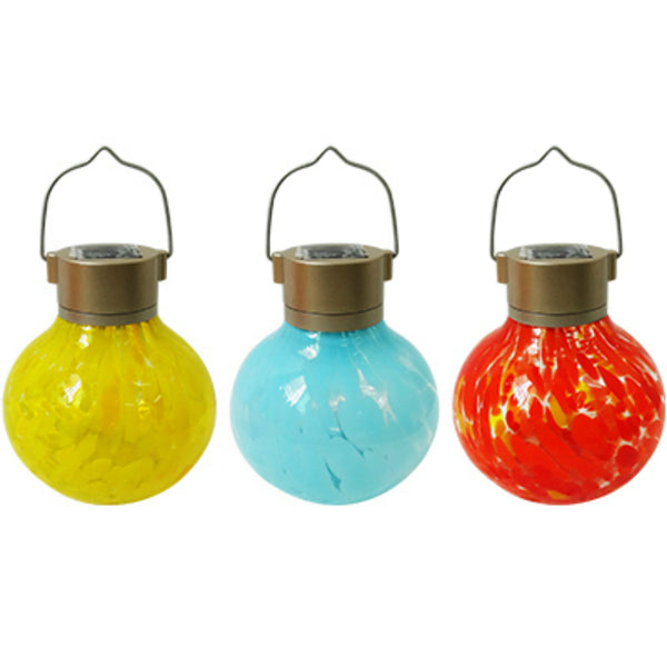 Alpine STR150ABB Solar Tea Light Glass Lantern with Battery, Assorted Colors