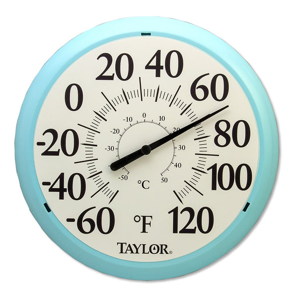 Taylor® 6700SB Easy Read Big & Bold Dial Thermometer, Sky Blue, 13.25""