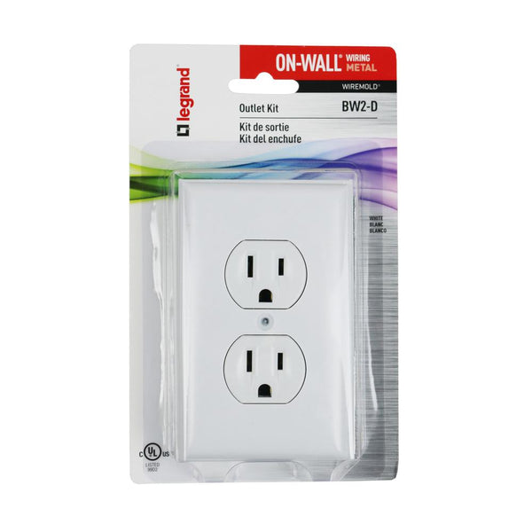Legrand® BW2-D Wiremold® Metal Raceway Outlet Box w/Duplex & Faceplate, White