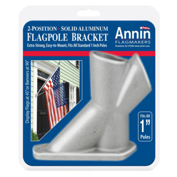 "Annin Flagmakers 286500 Aluminum 2-Position Flagpole Bracket, Fits All 1"" Poles"