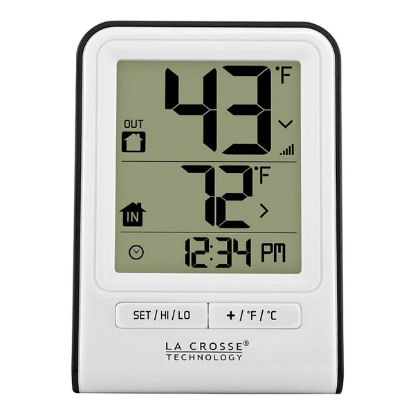 La Crosse® 308-1409WT-CBP Wireless Thermometer with Clock Time, White