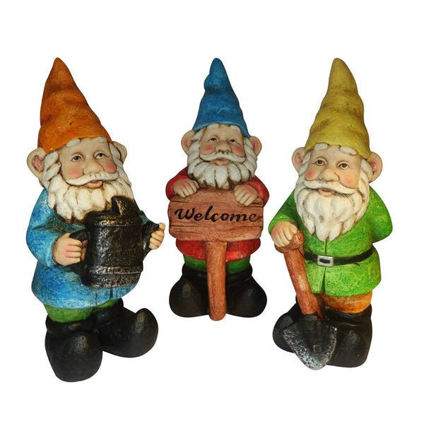 Alpine KGD100ABB Colorful Gnomes Statuary, 3-Assorted Styles
