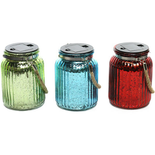 Alpine QMC108ABB Metallic Plated LED Hanging Glass Jar w/10 LEDs, Assorted Color