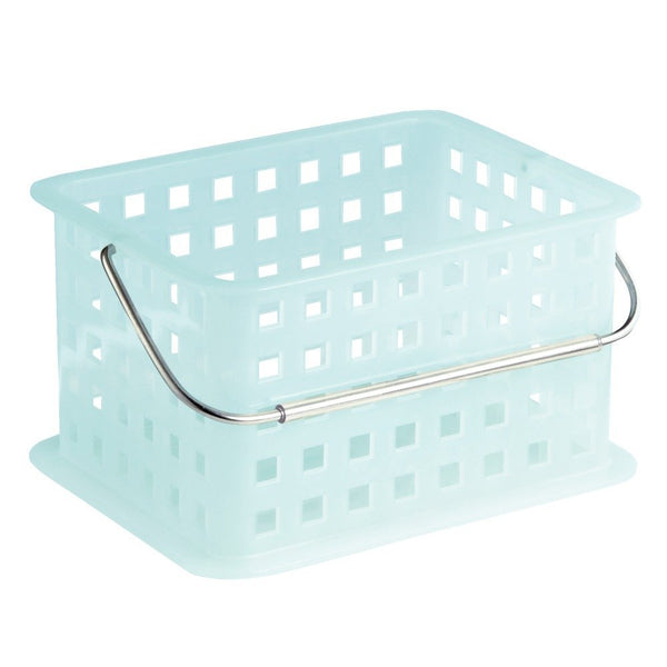 InterDesign® 61253 Plastic Spa Basket with Chrome Handle, Small, Water Blue