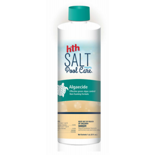 HTH® 67002 Salt Pool Care Algaecide Remover w/ Non-Foaming Formula, 32 Oz