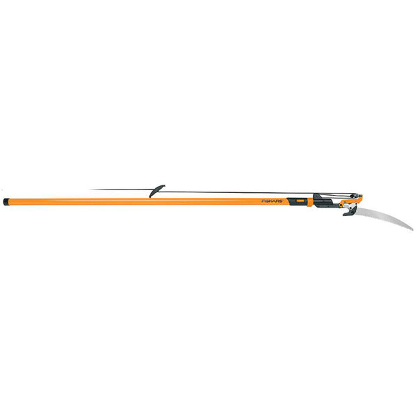 Fiskars 393981-1001 Power-Lever Extendable Pole Saw & Pruner, 7'-14'