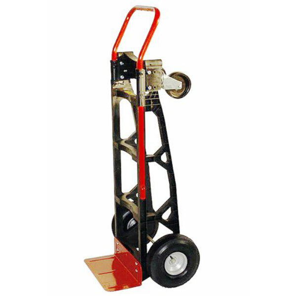 "Milwaukee 40611 Nylon Convertible Hand Truck with 10"" Pneumatic Tires, 600 Lb"