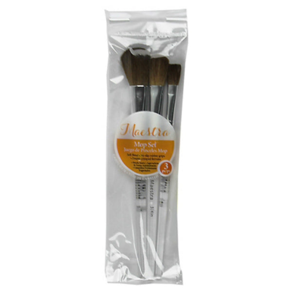 Linzer® AM-303 Maestra Camel Hair Mop/Wash Artist Brush Set, 3-Piece