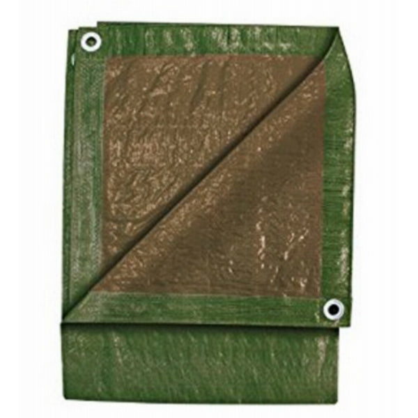 Tru-Guard KT-WT0418GB UV Resistant Green/Brown Wood Pile Tarp, 4' x 18'