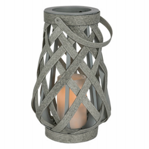"Sterno® GL39063 Rattan Criss Cross Lantern w/ Battery-Operated 4"" Candle, 10"""