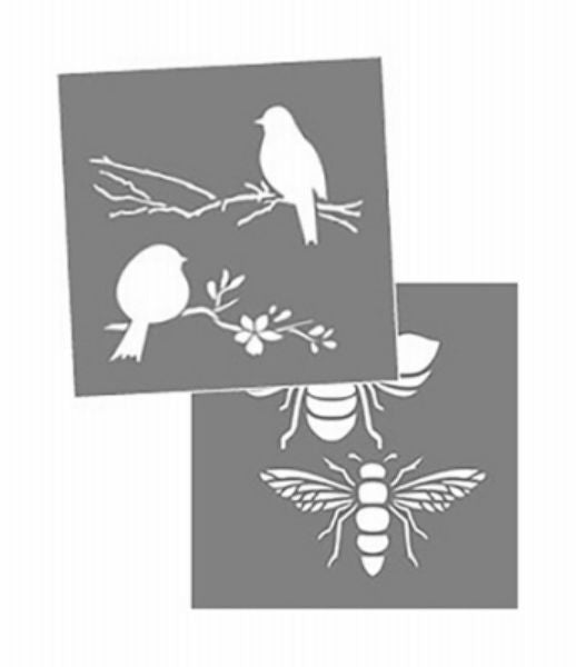 "DecoArt® ADS204-K Americana® Decor Bees & Birds Stencil, 8"" x 8"""