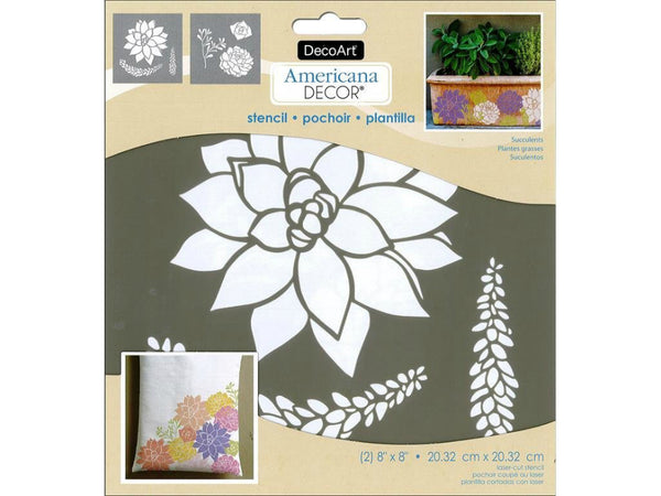 "DecoArt® ADS210-K Americana® Decor Succulents Stencil, 8"" x 8"", 2-Count"