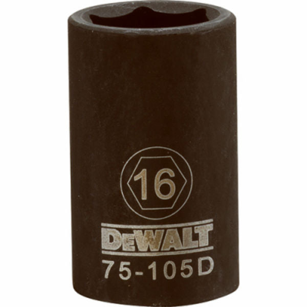 DeWalt® DWMT75105OSP Black Oxide Coating Impact Sockets, 1/2'' Drive, 6-Pt, 16 mm