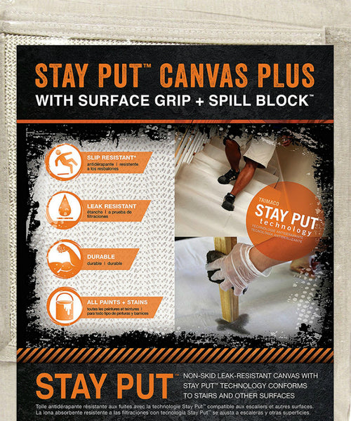 Trimaco 04328 Stay Put Canvas Plus Drop Cloth, 4' x 12'