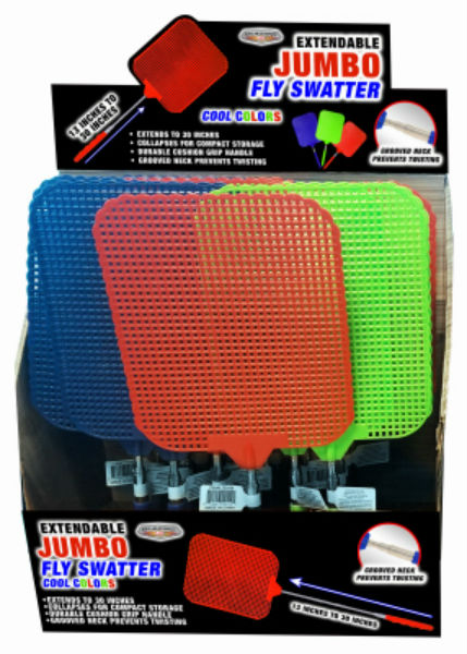 Blazing Ledz 702454 Extendable Jumbo Fly Swatter, Assorted Colors, Up To 30""