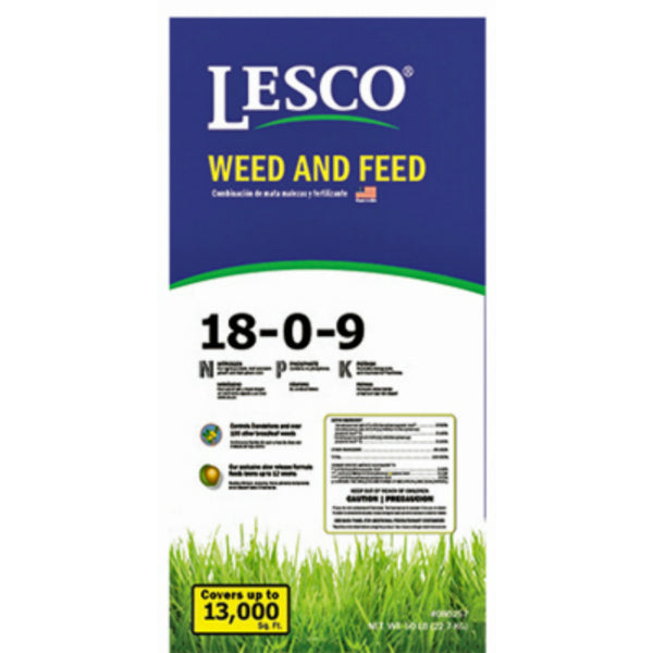 Lesco® 080257 Weed & Feed Fertilizer, 18-0-9, 50 Lbs
