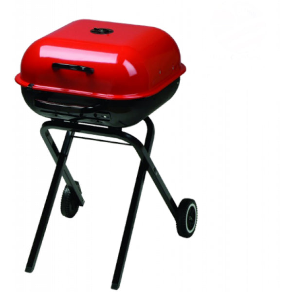 Aussie® 4200-0A511 Walk-A-Bout Grill with 2 Wheels & Locking Lid, Red