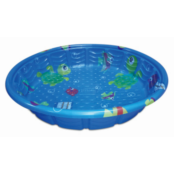 PolyGroup® P60000780132 Fish Print Round Plastic Wading Pool, Blue, 59""