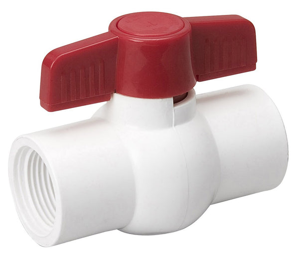 ProLine® 107-137 PVC Schedule 40 Threaded Ball Valve, White, 150 PSI, 1-1/2""