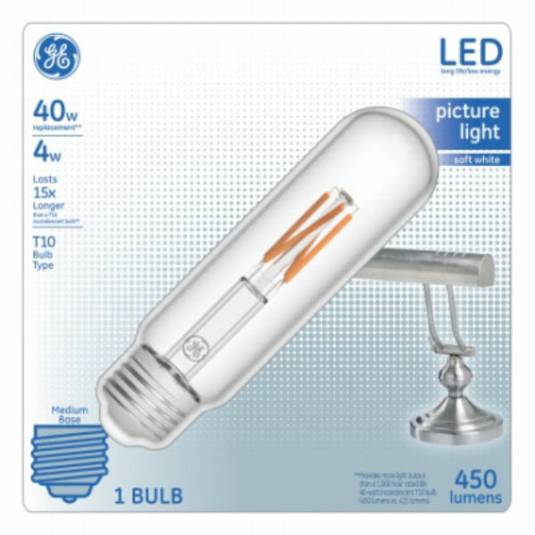GE Lighting 29073 Medium-Base Clear T10 LED Picture Light Bulb, Soft White, 4W
