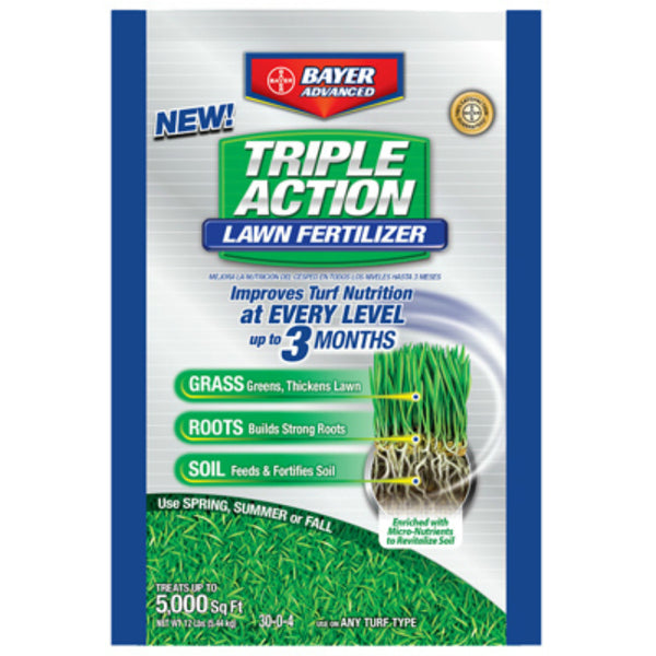 Bayer Advanced 704850S Triple Action Lawn Fertilizer Granules, 5000 Sq Ft, 12 Lb