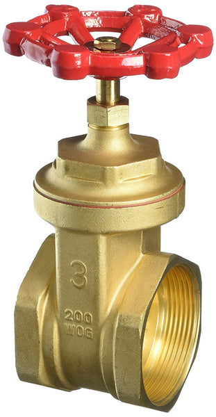 "Mueller 100-010 Full Port Brass Gate Valve, 200 WOG/125 WSP, 3"" IPS"