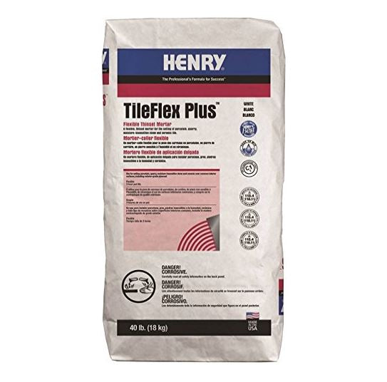 Henry 13081 527 TileFlex Plus Flexible Thinset Mortar, 40 Lb, White