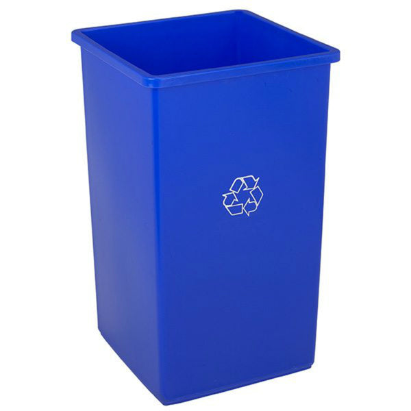 Swingline 25-1 Continental Square Recycling Trash Receptacle, 25 Gallon, Blue